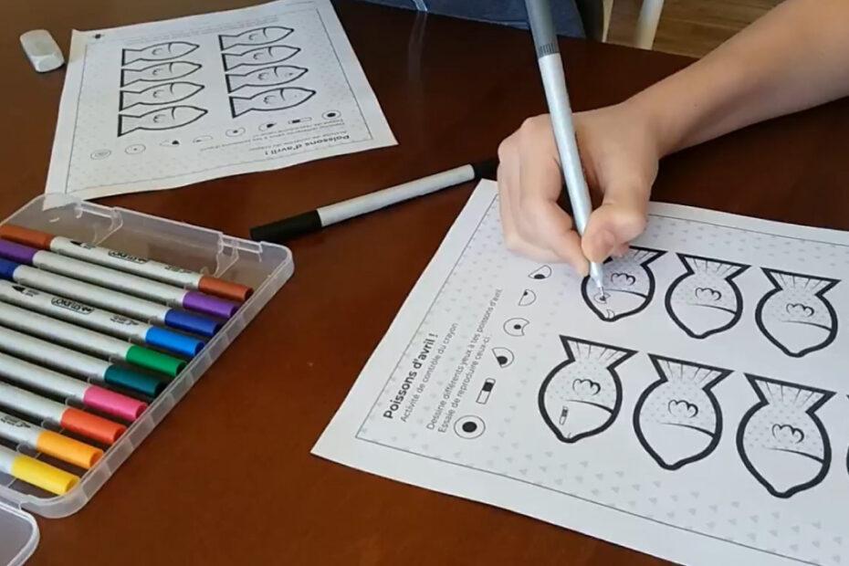Poissons d'avril à décorer pour exercer le contrôle du crayon de l'enfant
